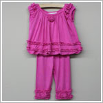 Rose Cage Rose Babydoll Bubble Top & Ruffle Capri Set