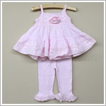 Rose Cage Baby Pink Eyelet Lace Tiered Swing Tank & Capri Set