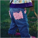Ruffle Butts Blue Jeans w/ Pink Ruffles
