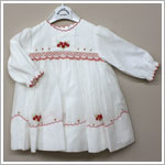 Sarah Louise Ivory Smocked L/S Dress with Red Floral Embroidery