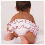 Sarah Louise White with Red Trimmed Ruffle Diaper Cover