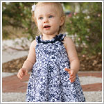 Sarah Louise White and Navy Floral Yoke Collar Dress