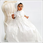 Sarah Louise Ivory Silk Christening Gown with Lace and Bonnet