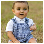 Sarah Louise 2pc White Collared Shirt and Navy Plaid Shortalls