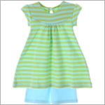 Scout Aqua/Leaf Green Stripe Discover Swing Top & Aqua Short Set