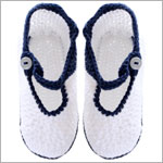 R: Sophie Dess White Knit Booties With Navy Trim