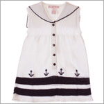 Sophie Dess White/Navy Knitted Sleeveless Sailor Dress