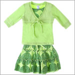 Sweet Potatoes *Flip!* Green Front Tie Tee & Green Tiered Skirt w/ Dots Set
