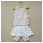 Sweet Potatoes *Bon Bon Blue* Brown/White Striped Tank & Skirted Bloomer Set
