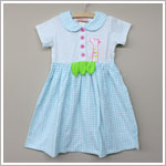 Sweet Potatoes *It's A Jungle Out There* Aqua Gingham/Dotted Pete Pan Collar Dress