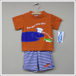 Sweet Potatoes *Crazy Fish* Orange Top With Swim Trunk