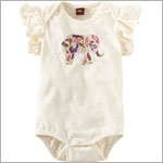 Tea Cream Flutter Sleeve Adik Elephant Bodysuit
