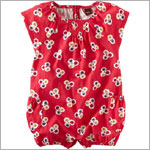 Tea Red Dyed Dots S/S Bubble Romper