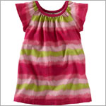 Tea Pink Rhododendron Horizon Stripe Dress