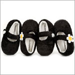 Trumpette Girls BLACK Soft Mary Jane Slipper w/ PEARL Button