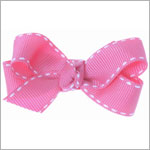 II: Wee Ones Pink Tiny Stitched Grosgrain Bow