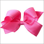 II: Wee Ones Large Stitched Grosgrain Basic Bow *MANY COLORS*