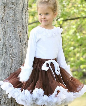 Ally Girl Pettiskirt *BROWN/WHITE* (petite - x-large)