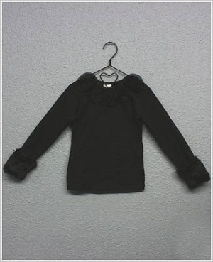 Ally Girl Long Sleeve Black Shirt w/ Detachable Fur Cuffs *New Style*