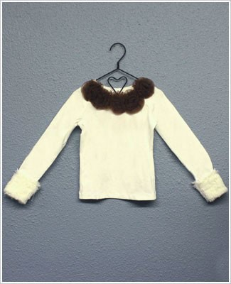 Ally Girl Long Sleeve Cream/Brown Shirt w/ Detachable Fur Cuffs *New Style*