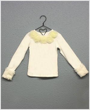 Ally Girl Long Sleeve Cream Shirt w/ Detachable Fur Cuffs *New Style*