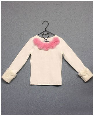 Ally Girl Long Sleeve Cream/Dusty Pink Shirt w/ Detachable Fur Cuffs *New Style*