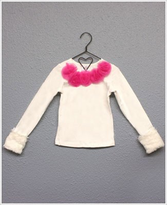 Ally Girl Long Sleeve Cream/Raspberry Shirt w/ Detachable Fur Cuffs *New Style*