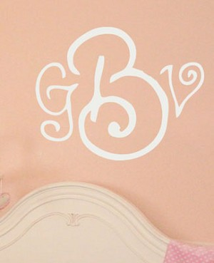 Z: Alphabet Garden Designs Wall Vinyl Curly Whirly Monogram