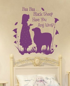 Z: Alphabet Garden Designs Wall Vinyl Bah Bah Black Sheep Girl Monogram