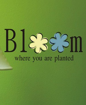 Z: Alphabet Garden Designs Wall Vinyl Bloom Where You Are Planted Monogram