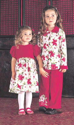 5y II: Baby Lulu Holiday Poinsettia Fashion Velveteen Pant