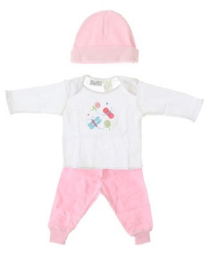 II: Baby Tales L/S White Butterflies Shirt With Pink Pants and Beanie Set