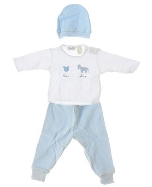 II: Baby Tales L/S White Shirt With Blue Pants and Beanie Set