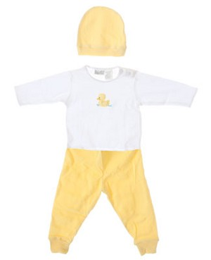 II: Baby Tales L/S White Shirt With Yellow Pants and Beanie Set