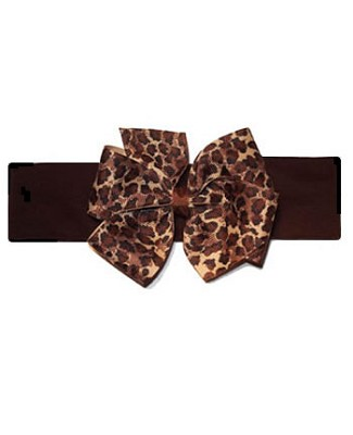 ~ Blooming Bows Leopard Grosgrain Headband