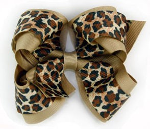 Blooming Bows Leopard Grosgrain Twist Hair Bow Barrette