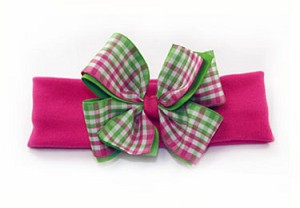 ~ Blooming Bows Lollipop Gingham Headband