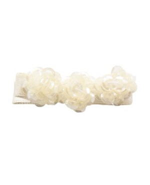 Blooming Bows Pale Cream Sequin Flower Clippie