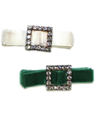 Blooming Bows Green or White Rhinestone Velvet Hair Clip