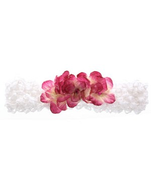 II: White With Dark Pink Mini Rose Crochet Headband