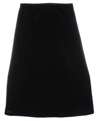 II: Clique Black Velour Long A-Line Skirt