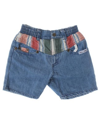 6y Deux Par Deux Blue Denim Shorts With Stripes