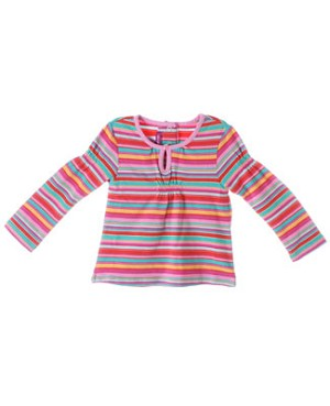 Deux Par Deux Multi Color L/S Shirred Top