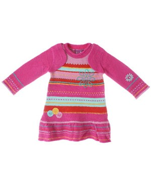 Deux Par Deux Fuchsia Multi Striped Soft Knitted L/S Dress