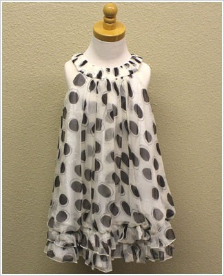 Isobella & Chloe Cream with Black Dotted Chiffon Boat Neck Dress with Layers