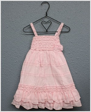 Isobella & Chloe Pink Strappy Empire Waist Dress w/ Ruffles