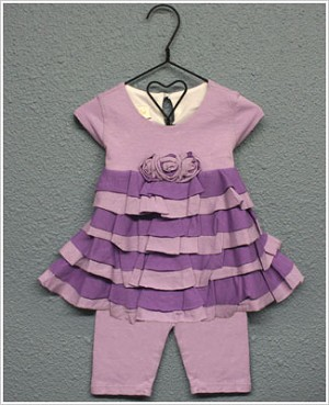 Isobella & Chloe Lilac/Purple Layered Cap Sleeve Tunic & Lilac Capri Set