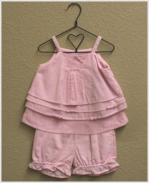 Isobella & Chloe Pink Voile 2pc Pleated Layered Top and Bloomer Set