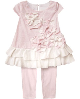 Isobella & Chloe Pink/White S/S Wild Flowers Tiered Tunic & Pink Legging Set