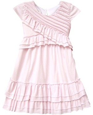 Isobella & Chloe Pink Cap Sleeve Cross Top Tiered Dress